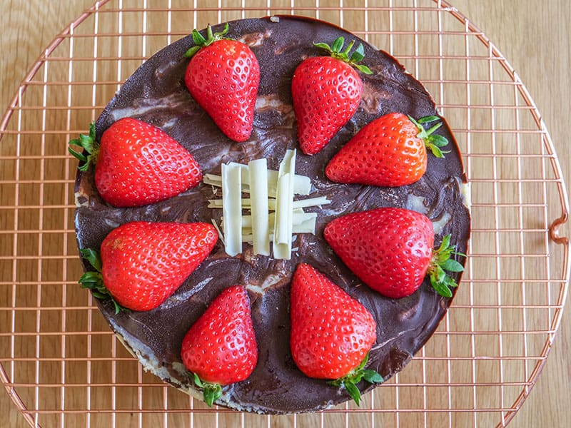 Easy Chocolate Covered No Bake Strawberry Cheesecake