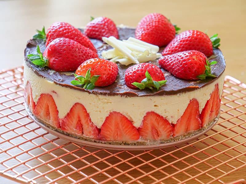 Easy Chocolate Covered No Bake Strawberry Cheesecake